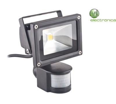 PROJETOR LED 10W WARM WHITE C/ SENSOR MOVIMENTO