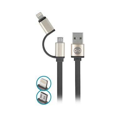 CABO MICRO USB 2EM1  C/ CONETOR METAL IPHONE 8-PIN PRETO