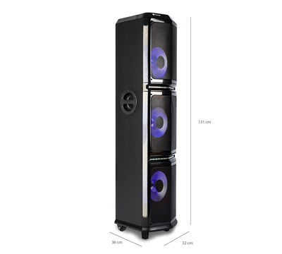 COLUNA BLUETOOTH 600W C/ SUBWOOFER TRIPLO - NGS WILD TRAP 3